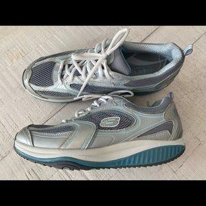 Skechers Shape Ups sneakers size 11 blue silver